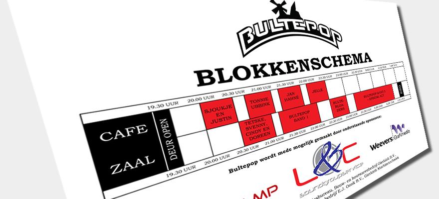 Bultepop tijdschema is online!